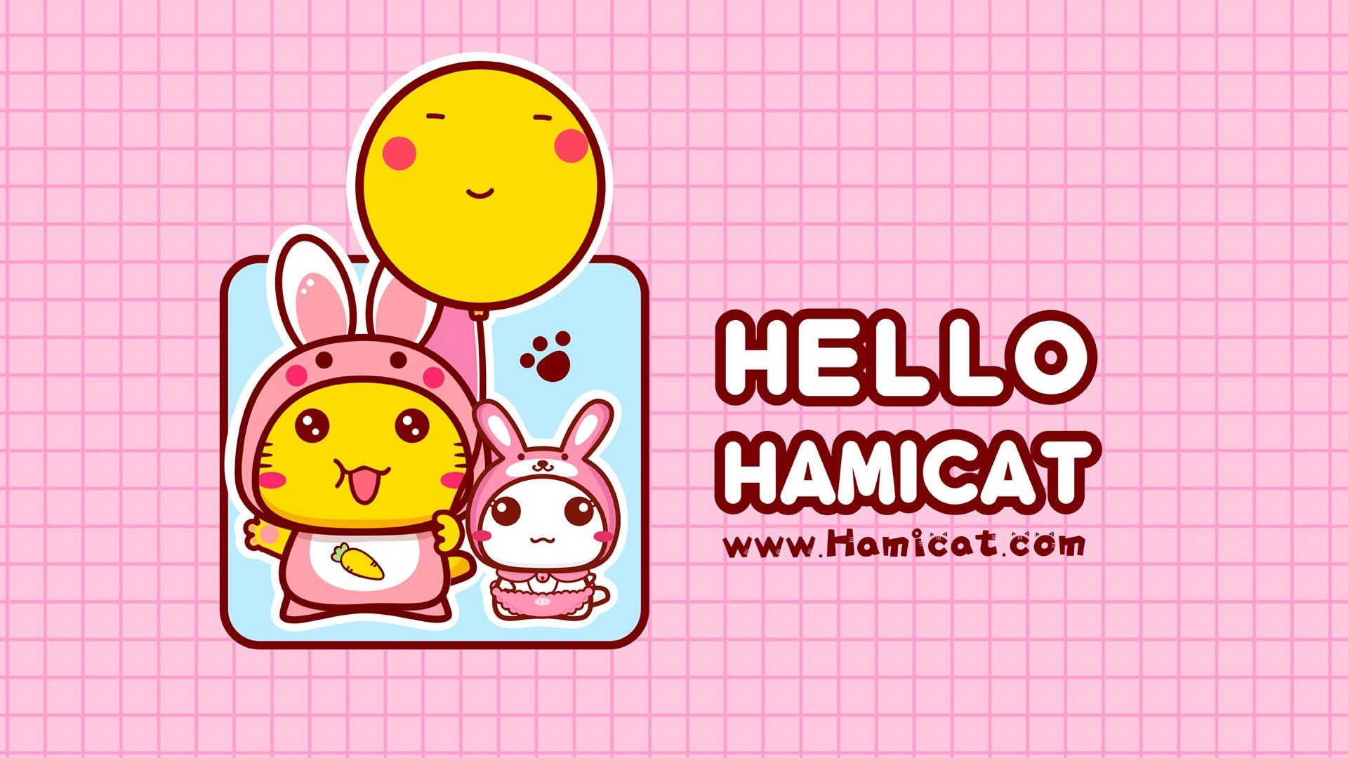 哈咪猫中秋节插画卡通壁纸图片