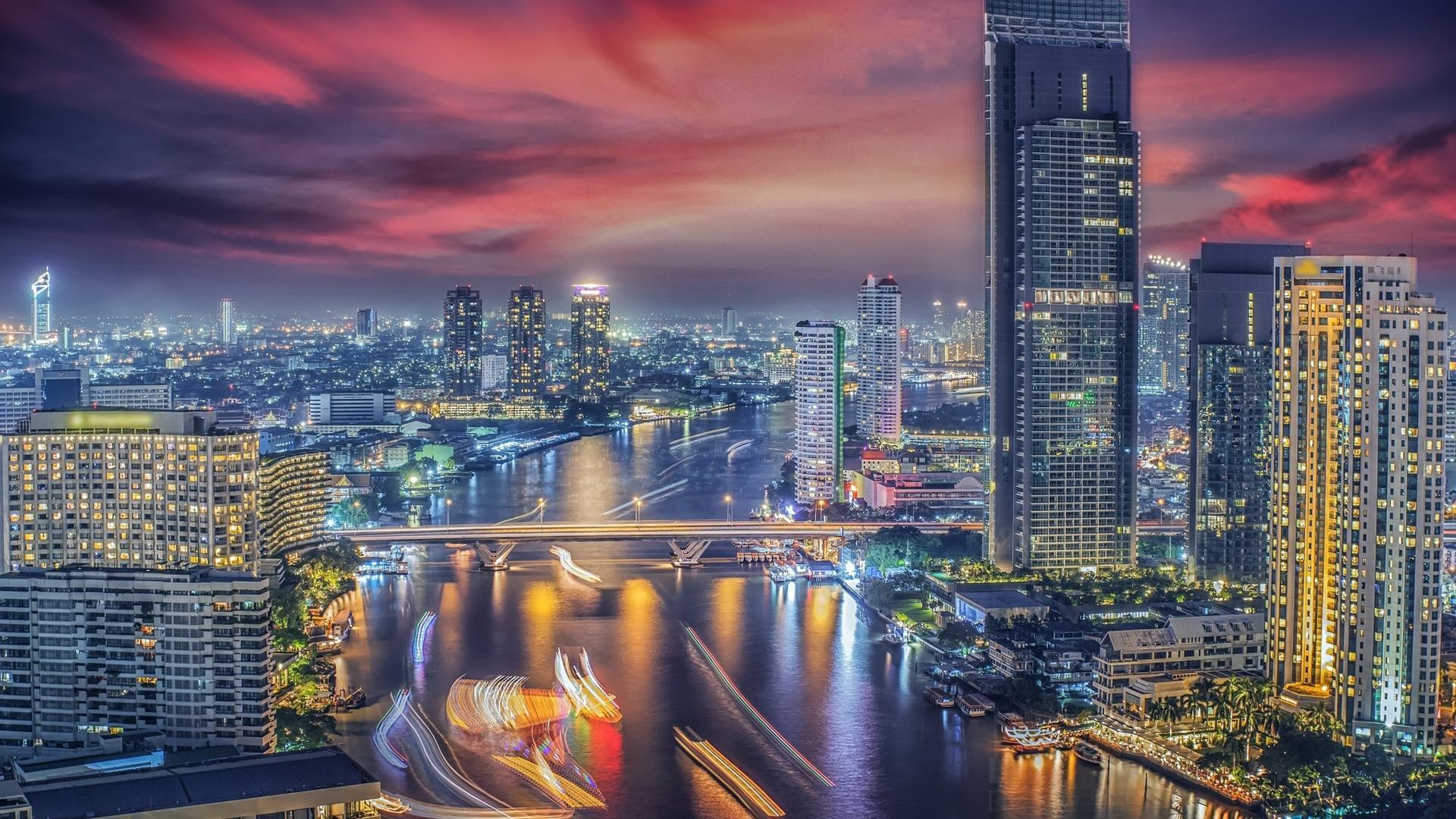 泰国曼谷霓虹璀璨城市夜景图片桌面壁纸